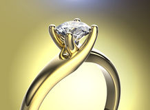 Golden Ring with Diamond. Jewelry background Royalty Free Stock Photography