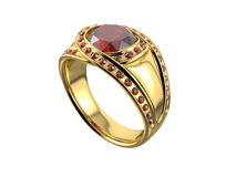 Golden Ring with Diamond. On white background. 3D image Royalty Free Stock Image