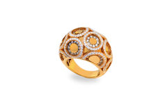 Golden ring with diamonds royalty free stock photos