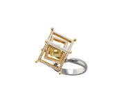 Golden ring with diamonds Stock Images