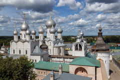 Golden Ring. Domes over Rostov Veliky. Golden Ring of Russia. Rostov Veliky. A view of ensemble of the Rostov Kremlin from the observation deck Royalty Free Stock Image