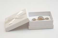 Golden ring and earrings Royalty Free Stock Photo