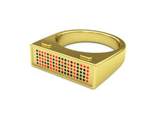 Golden ring with electronic led watch Stock Photography