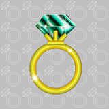 Golden ring with emerald Royalty Free Stock Images