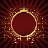 Golden Ring frame banner with Crown Stock Photo