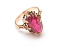 Golden ring with gemstone Stock Photography