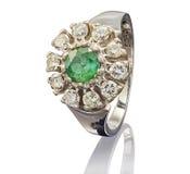 Golden ring with gemstone isolated white Stock Image