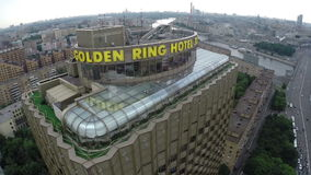 Golden Ring Hotel in Moscow, aerial shot stock video footage
