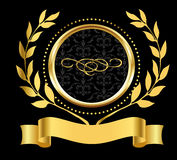 Golden ring label with olive branches. In two sides Royalty Free Stock Photos