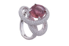 Golden ring with pink sapphire Stock Photography