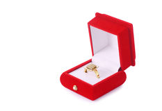 Golden ring in a red box isolated Royalty Free Stock Image