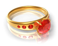 Golden ring with red jewels Royalty Free Stock Photo