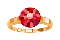 Golden ring with round ruby icon symbol isolated Stock Images