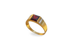 Golden ring with ruby and diamonds Royalty Free Stock Photos