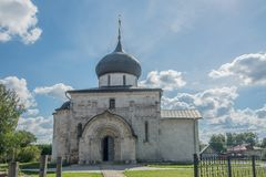 Golden Ring of Russia. In the territory of St. George`s Cathedral in Yuryev-Polsky. Russia, Yuryev-Polsky, St. George`s Cathedral in Yuryev-Polsky, Vladimir stock photos