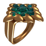 Golden Ring with Sapphires Royalty Free Stock Photography