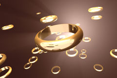 Golden rings 2. Golden rings, floating in hazy space. No DOF/blur Royalty Free Stock Photo