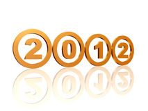 Golden rings 2012. 3d golden rings with figures with text 2012 Stock Photography