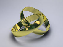 Golden Rings. Two golden rings 3D illustration Stock Photography