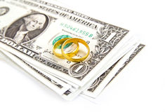Golden rings on banknote 1 dollar Royalty Free Stock Photography