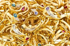 Golden rings collection Royalty Free Stock Image