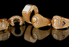 Golden rings with diamonds royalty free stock photo