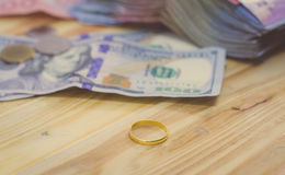 Golden  rings and dollar banknotes Stock Images