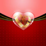 Golden rings in glass heart Royalty Free Stock Photography
