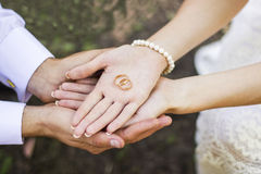Golden rings on palms. Two golden wedding rings on bride and groom's palms Stock Photos