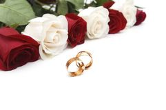Golden rings and roses isolated Stock Photo