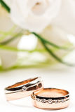 Golden Rings With Bouquet Stock Images