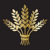 Golden ripe wheat sheaf on black background. Vector decorative element, brand icon or logo template Stock Images