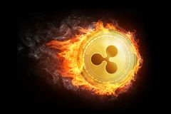 Golden Ripple coin flying in fire flame. Blockchain token grows in price on stock market concept. Burning crypto currency Ripple symbol illustration isolated Royalty Free Stock Photos