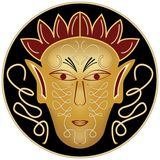 Golden ritual male mask in black circle Stock Image