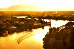 Golden River. Evening view of Kuching River Stock Photos