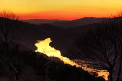 Golden River at sunset. Golden river passing through natural landscape of Geres, Portugal (HDR photo stock photography