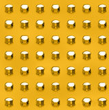 Golden Rivets. Background of gleaming golden rivets strength and wealth Stock Images