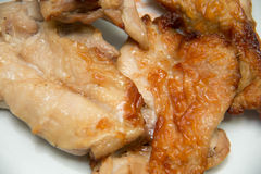 Golden roasted chicken on white background Stock Photo