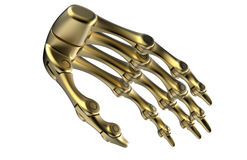 Golden robotic arms. 3D render illustration of a golden robotic arm. The arm has individual joins for each finger and it is isolated on a white background with Stock Photos