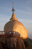 Golden rock. With praying people - one of the most Buddhist worship place in Burma Stock Image