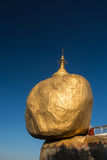 Golden rock or kyaikhtiyo. The miracle rock is famous and the great of worship places in Myanmar Stock Image