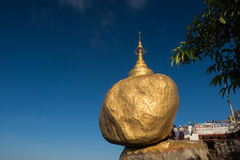 Golden rock or kyaikhtiyo. The miracle rock is famous and the great of worship places in Myanmar royalty free stock image