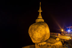 Golden rock, kyaikhtiyo pagoda in mon state, Myanmar( burma ) at the night. Royalty Free Stock Images