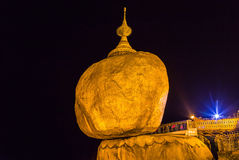 Golden rock, kyaikhtiyo pagoda in mon state, Myanmar( burma ) at the night. Stock Images