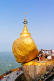 Golden Rock, Myanmar. Night scene Kyaikhtiyo Pagoda (Golden Rock) in the Mon State.Kyaikhto city,Myanmar.The Pagoda is also known as The golden rock that sits a Royalty Free Stock Photos