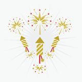 Golden rocket firework and blasts on off white background Stock Photos