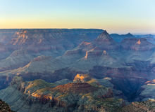 Golden Rocks of the Grand Canyon in Sunset. Fantastic view into the grand canyon from mathers point, south rim royalty free stock image