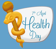 Golden Rod of Asclepius with a Sign for World Health Day, Vector Illustration. Commemorating sign for World Health Day with a golden rod of Asclepius in cartoon Royalty Free Stock Photo
