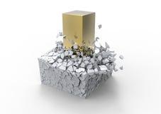 Golden rod crushing stone Stock Photo