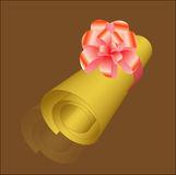 Golden roll. Love-letter, red bow, golden letter Royalty Free Stock Photography